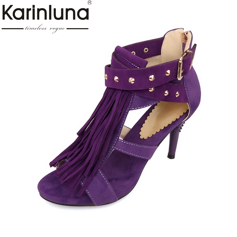 KARINLUNA 4 colors Black Red Sexy Women Tassel Sandals Blue Purple Ladies High HeelS Rivets Shoes Woman Plus Big Size 32-43 brand new hot sale sexy suede leather women tassel sandals blue black purple red ladies high heel fringe shoes plus big size 42