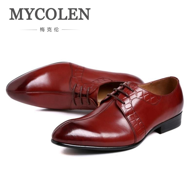 MYCOLEN Brand Italian Mens Formal Shoes Genuine Leather Comfortable High Quality Wedding Shoes Sapato Masculino Oxford hot sale mens italian style flat shoes genuine leather handmade men casual flats top quality oxford shoes men leather shoes