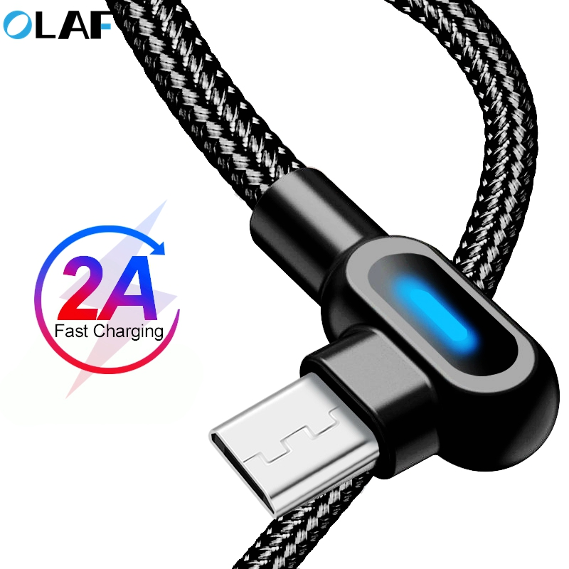 OLAF 90 Degree Fast Micro USB Cable Charger Data Microusb Charging Cable For Samsung Huawei Android Mobile Phone Cables Cord|Mobile Phone Cables|   - AliExpress
