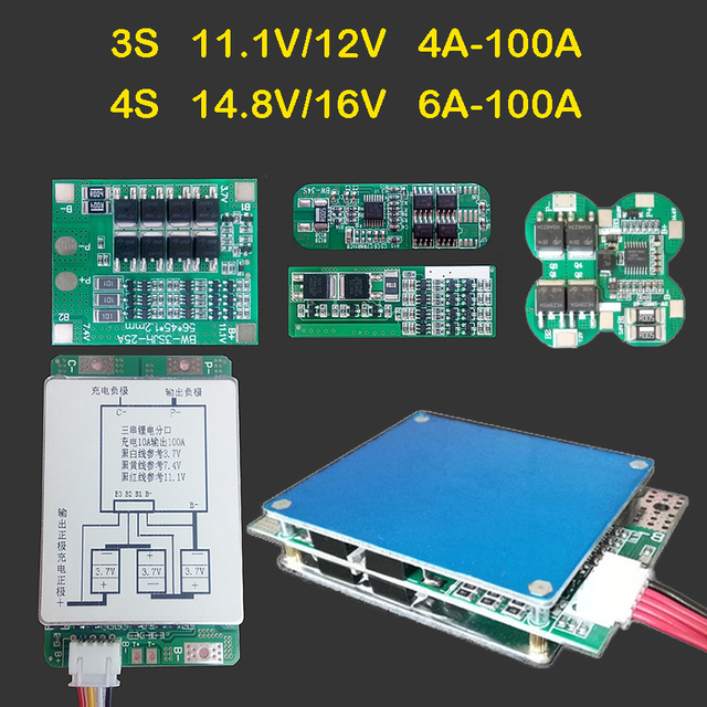 3 S 11.1 V 12 V 4S 14.8 V 16 V 6A 24A 30A 50A 100A גבוהה הנוכחי ליתיום Lifepo4 lipo ליתיום סוללות הגנת לוח BMS מודול