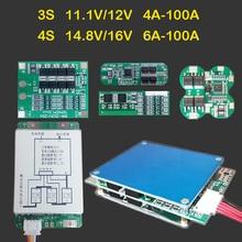 Литий ионный аккумулятор 3S, модуль защиты BMS 11,1 В, 12 В, 14,8 в, 16 В, 6A, 24A, 30A, 50A, 100A, литий ионный Lifepo4 Lipo