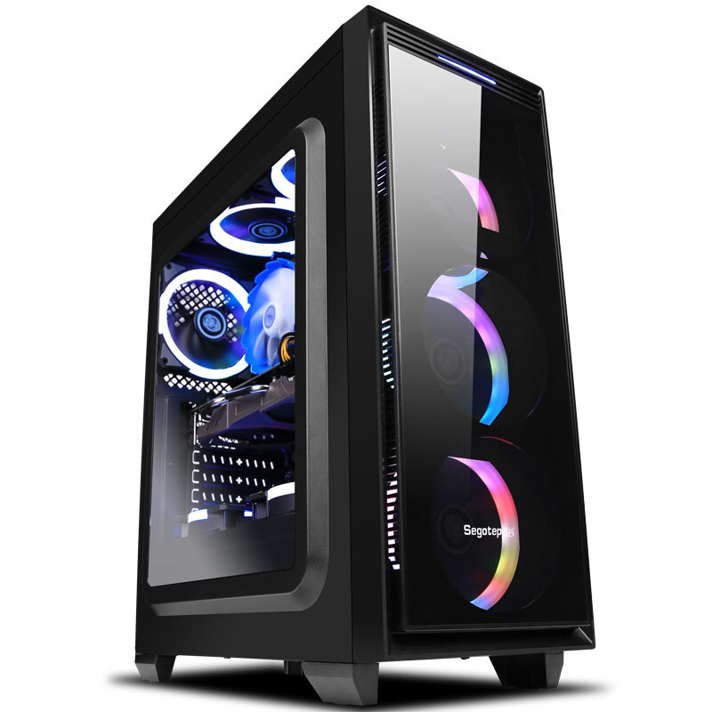 Z1-2 Gaming Desktop PC Intel I7 8700 3.2GHz 120mm Water Liquid Cooling GTX 1070Ti 240GB SSD 8GB RAM Computer Home Colorful Fans
