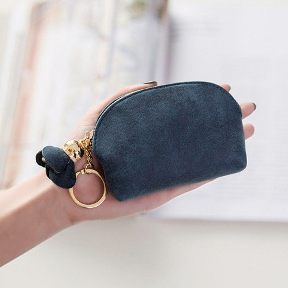 Модный женский мини-кошелек из искусственной кожи, держатель для карточки-ключа на молнии, кошелек для монет, цветочный кулон, клатч, маленькая сумочка - Цвет: Темно-синий