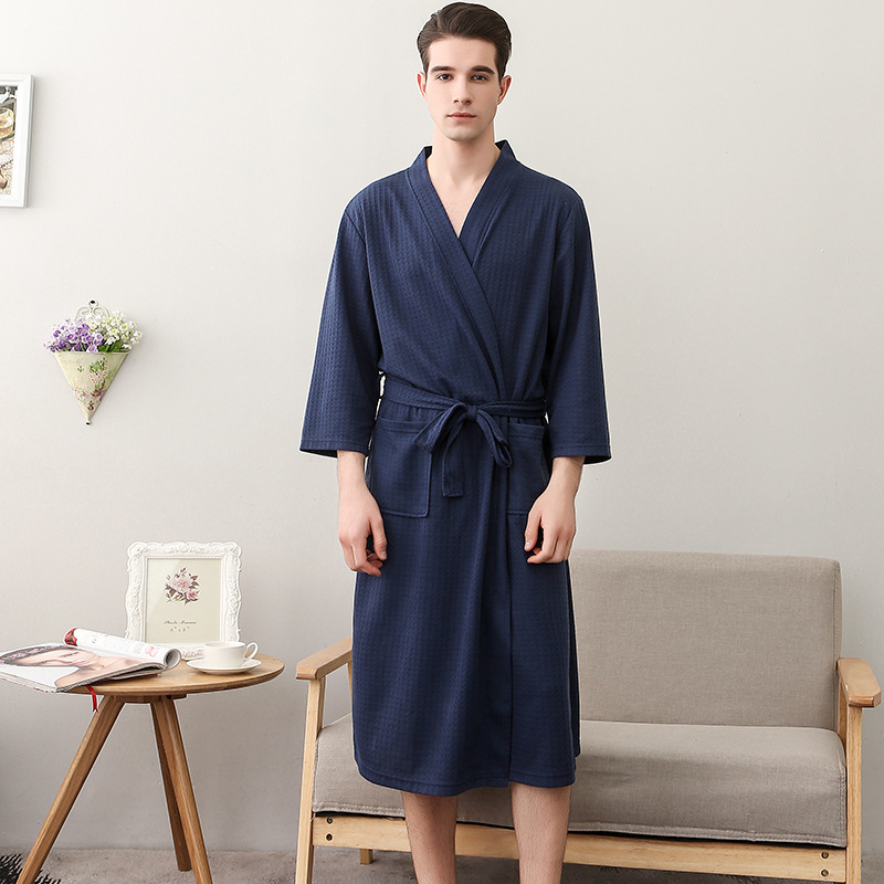 Unisex Men Cotton Nightgown Summer Kimono Robe Bathrobe Gown Women Casual Sleepwear Solid Color Home Clothes Loose Nightwear