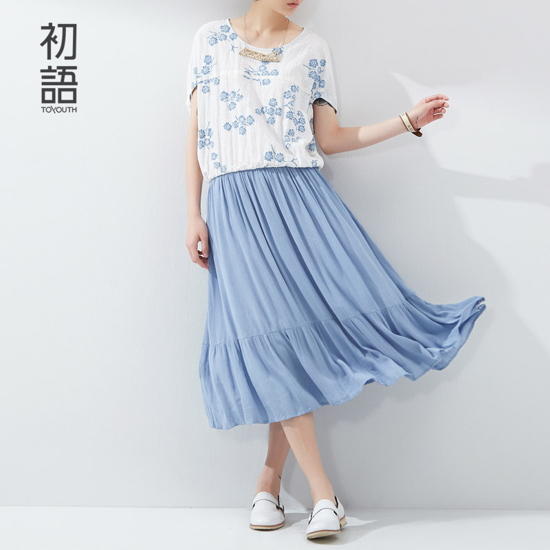 Toyouth New Women Summer Dresses Solid Flower Print Patchwork Batwing Sleeve Dress Ladies Loose Mid Calf