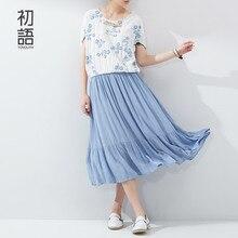 Toyouth New Women Summer Dresses Solid Flower Print Patchwork Batwing Sleeve Dress Ladies Loose Mid-Calf Slim Dress
