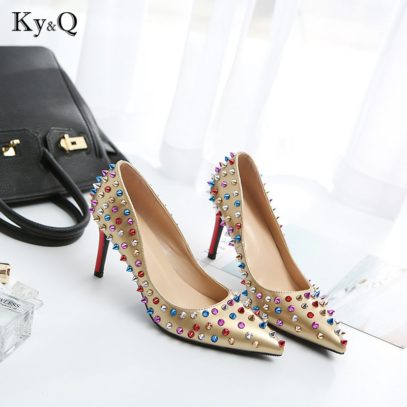 Brand Shoes Women High Heels Women shoes Pumps Stilettos Shoes For Women Gold High Heels Sexy Rivet Party Wedding Shoes 8cm/10cmBrand Shoes Women High Heels Women shoes Pumps Stilettos Shoes For Women Gold High Heels Sexy Rivet Party Wedding Shoes 8cm/10cm
