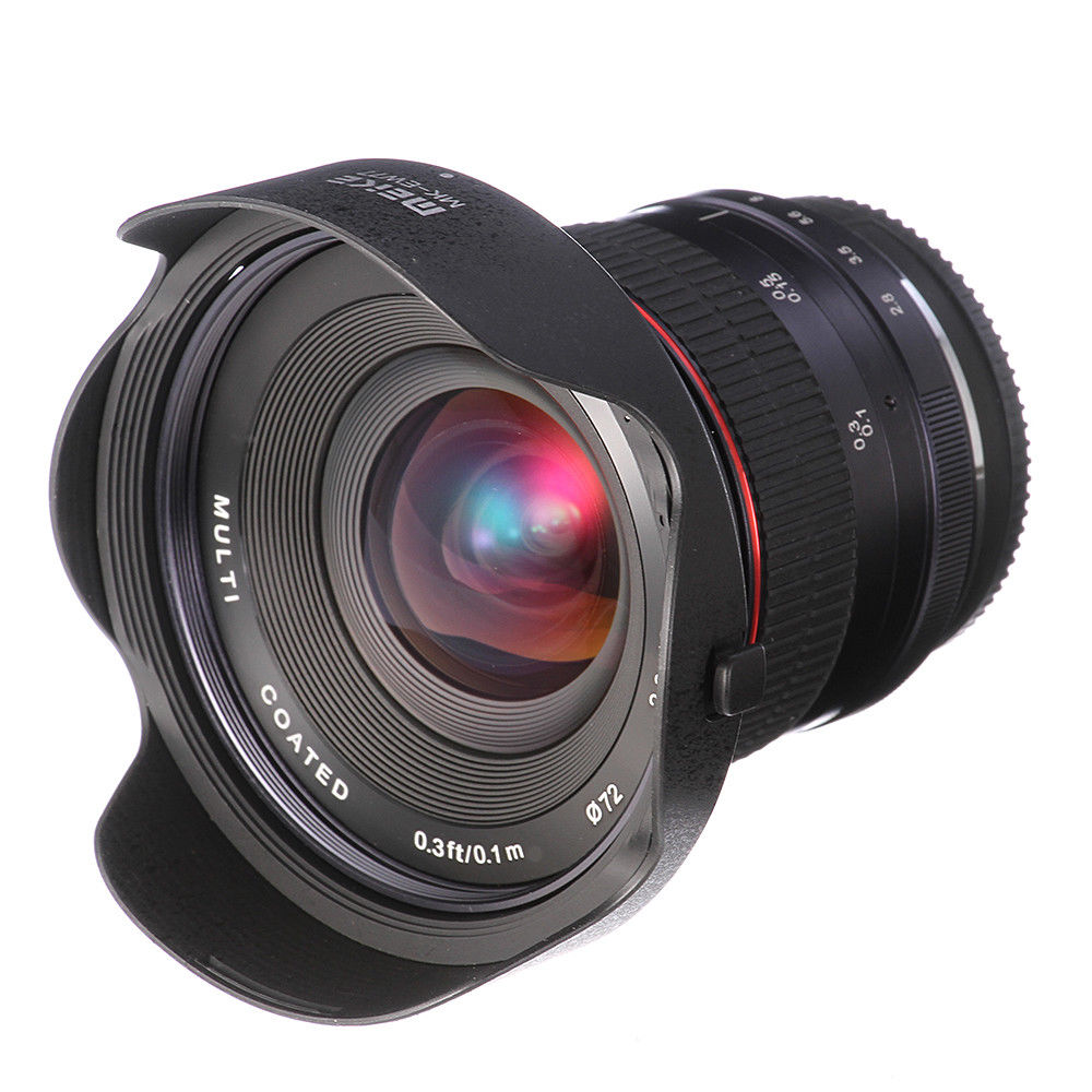 MEKE12mm f/2.8 Ultra Wide Angle Fixed Lens with Removeable Hood for EOS NEX FX M43 mount Camera