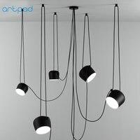 Artpad White Black Multiple Spider Pendant Lamp American Industrial Loft LED Hanging Ceiling Lamps Office Cafe Bar Decoration