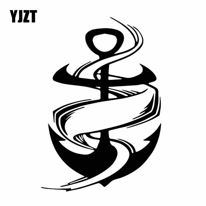 YJZT 10.6CM*15.5CM Anchor Sea Ocean Ribbon Ship Boat Vinly Decal Decor Car Sticker Luxurious Black/Silver C27-0443