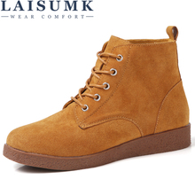 LAISUMK Fashion Women Martin Boots Autumn Winter Classic Lace up Snow Ankle Suede Warm Fur Plush Shoes