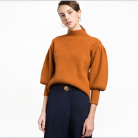 HDY Haoduoyi Casual Women Sweater 2017 New Fashion Turtleneck Knitted Solid Pullovers Lantern Sleeve Winter Female