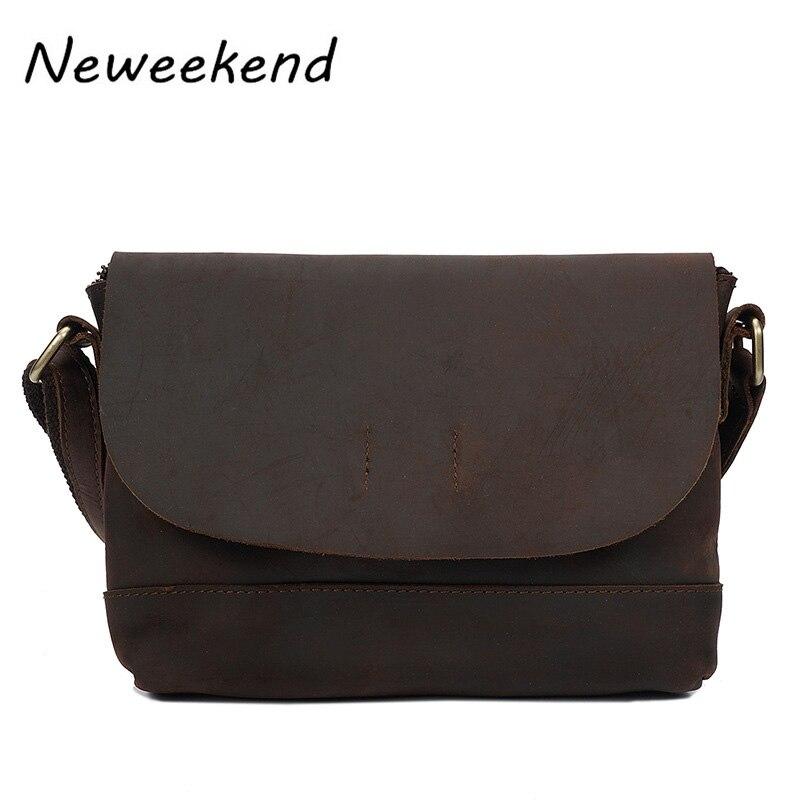 Mens Genuine Leather Crossbody Shoulder Bag Men Small Business Bags Male Messenger Sling Bags Portfolio Coffee YD-007