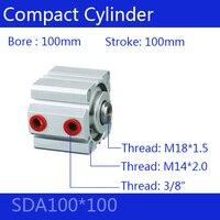 SDA100 * 100 Бесплатная доставка 100 мм диаметр 100 мм Ход Компактный Воздушные цилиндры SDA100X100 двойного действия пневматический цилиндр