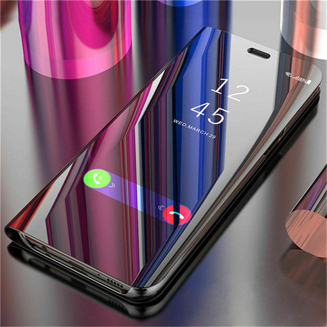 For OPPO F5 F7 F9 F11 Mirror Flip Leather Case for A3S A5 A5S A7 AX5 A11X A9 2020 Reno Z 2Z 2F Realme 3 5 C2 A1K Ace X2 Pro