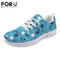 FORUDESIGNS Barbero Zapatos Mujer Cute Cartoon Barber Shop Pattern Flats Shoes Women Casual Sneakers Light Weight Female Shoes