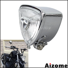 Faro de motocicleta triangular para Harley Chopper Custom Cruiser H4 faro Vintage Cafe Racer plata Retro faro