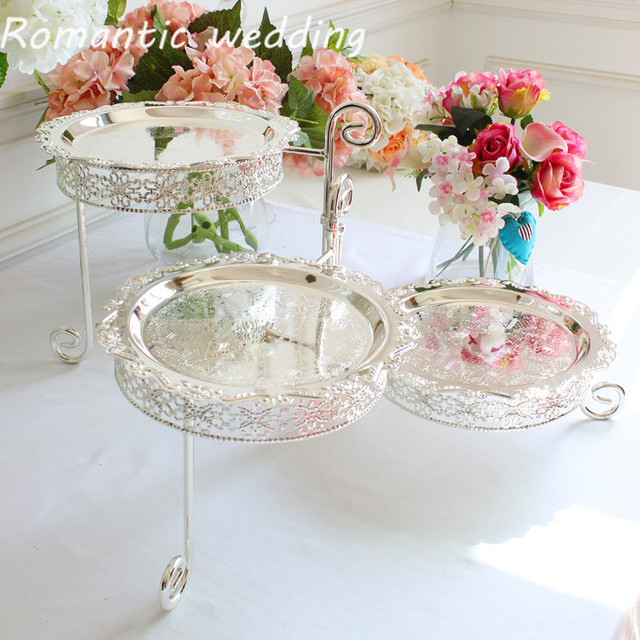 2pcs European silver-plated cake stand three-layer dessert fruit tray for table home living room restaurant wedding ornaments