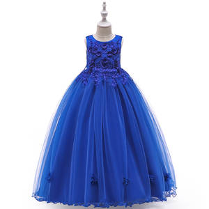 Dresses Ball Gown Flower Girl Kids Evening Gowns Tulle Royal Blue Lace O-Neck Soft