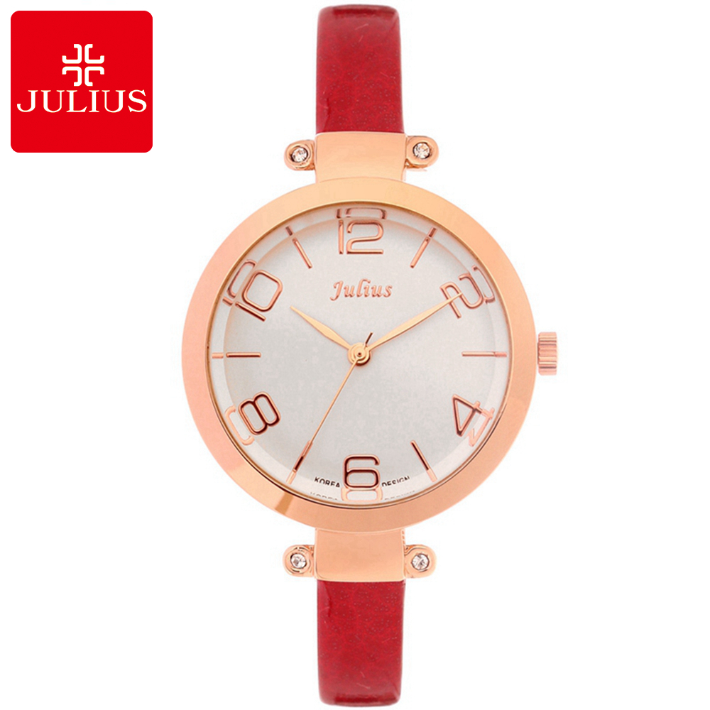 2017 Ladies Luxury Original Leather Strap Watches Girl Fashion Casual Quartz Watch Famous Julius 738 Students Clock Reloj Mujer longbo luxury brand fashion quartz watch blue leather strap women wrist watches famous female hodinky clock reloj mujer gift