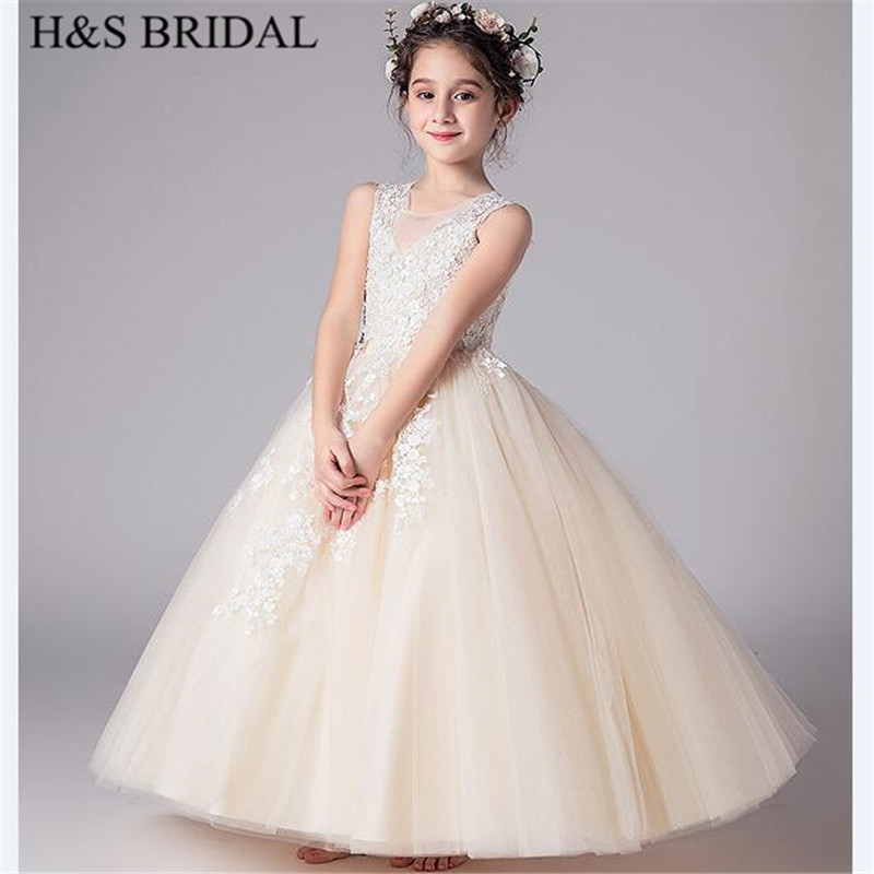 H&S BRIDAL Champagne   flower     girl     dresses   Long first communion   dresses   2-12 Years   girls     dress   for wedding vestido de daminha