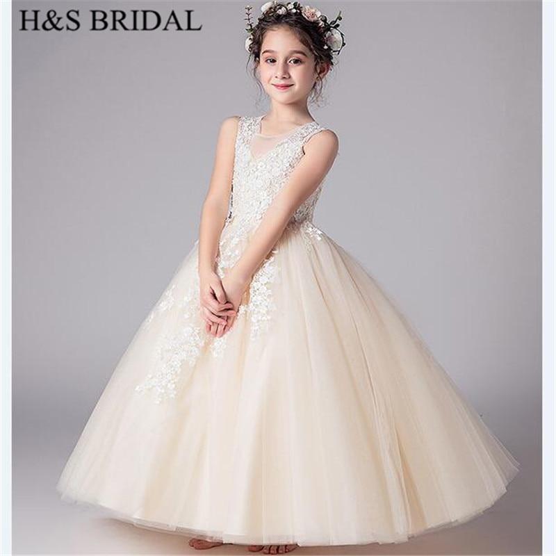 H & S mariée Champagne fleur fille robes longues première communion robes 2-12 ans filles robe pour mariage vestido de daminha