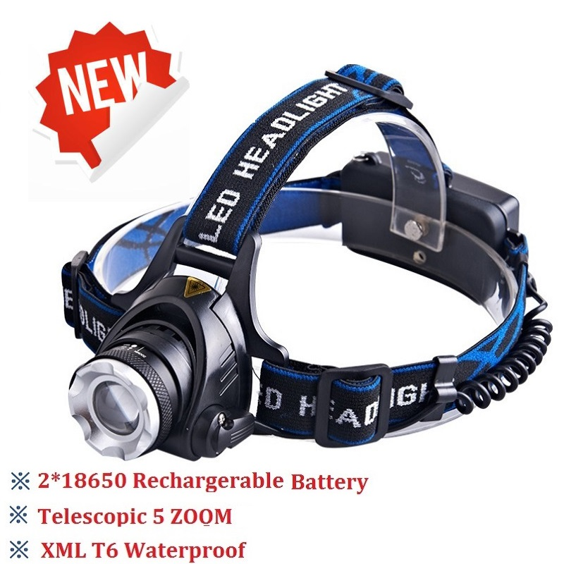 HOT T6 headlight led headlamp waterproof zoom head lamp 18650 battery flashlight head torch Lights camping