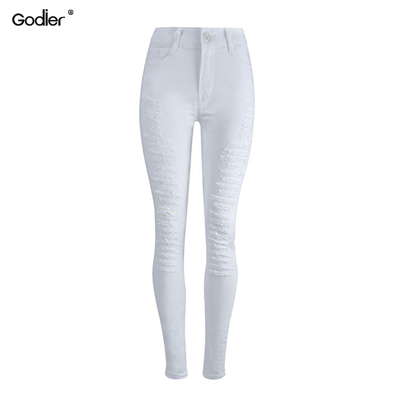 Godier Women`s Distressed Curvy White Mid High Waist Stretch Cool Denim Pants Ripped Skinny Jeans For Women Jeggings image