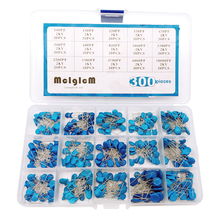 цена на 15 Value/Type 300 pcs High Voltage Ceramic Capacitor Assortment Box Kit 2Kv 2000V 100pf ~ 10000pf