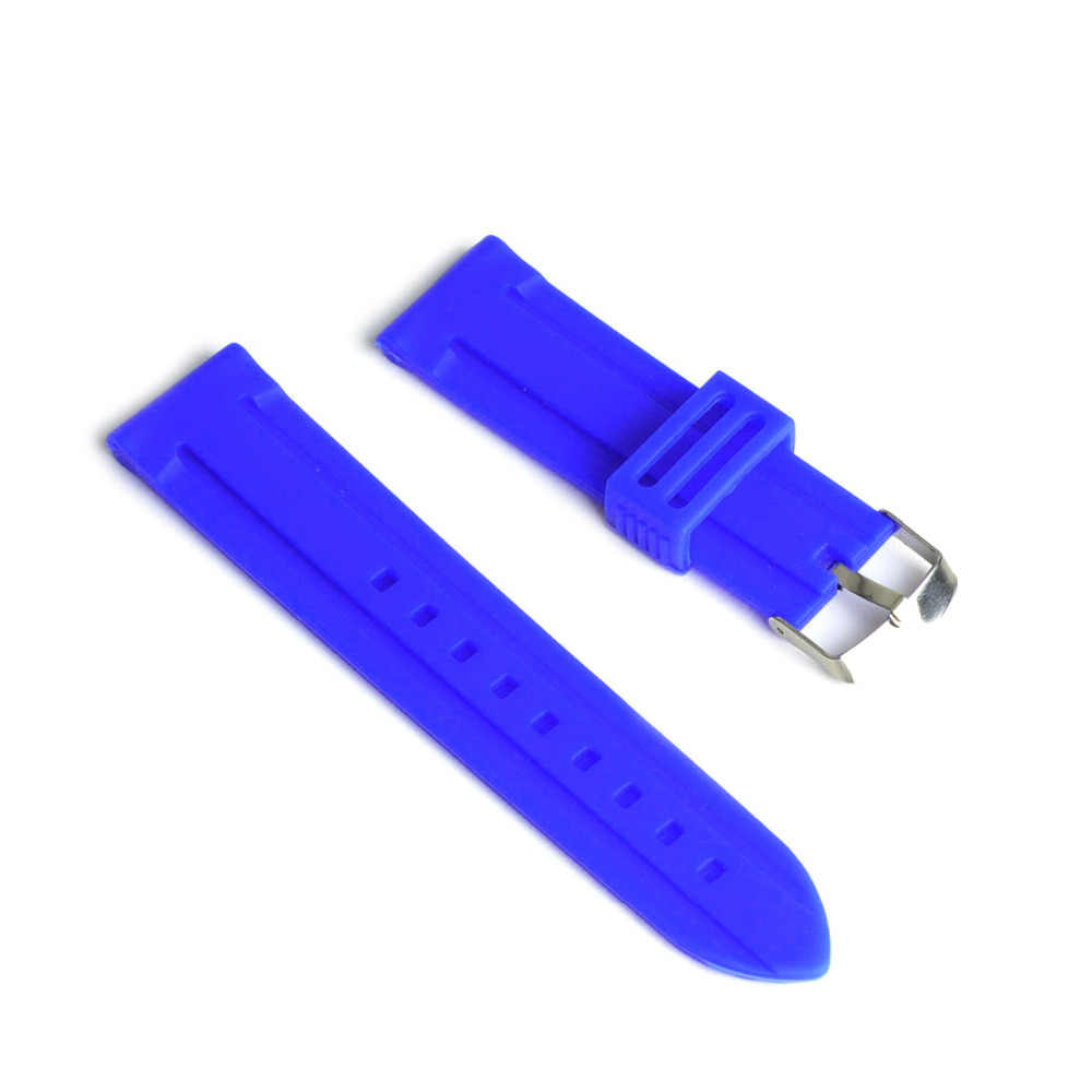 20mm 22mm 24mm Blue Color Silicone Rubber Watch Strap Band Deployment Buckle Waterproof Watchband