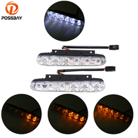 POSSBAY 2Pcs Set 6 9 Led 12 18W Universal Car Light Source Waterproof DC12V DRL Daytime