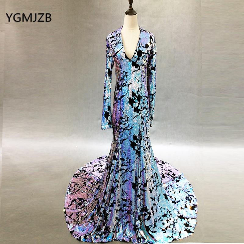Sparkly Sequin   Evening     Dress   Mermaid 2018 Long Sleeves Kaftan Arabic Dubai Woman Pageant   Evening   Gowns Prom   Dress