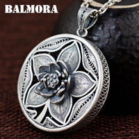 BALMORA 990 Pure Silver Vintage Flower Hollow Pendants For Women Mother S Gift Accessories Jewelry Without