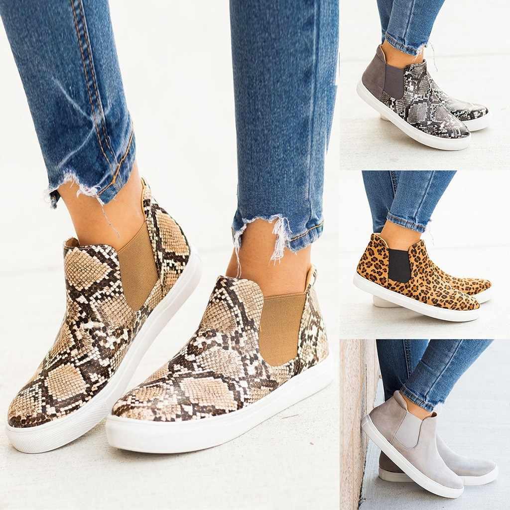 Botas de mujer de moda para chicas tobillo leopardo liso plano Casual botas cortas mujer Otoño Invierno zapatos talla grande M50 #