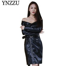 YNZZU 2019 Autumn Winter black off shouler leather jacket Slim long sleeve sexy PU ladies dress Fashion Elegant Faux coat YO845