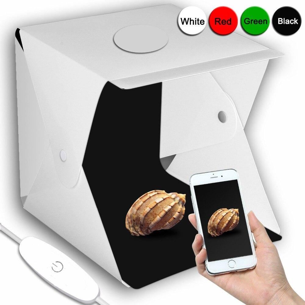 2 LED Pliant Lightbox 40*40 Portable Photographie Photo Studio Softbox Réglable Luminosité Boîte à Lumière Pour Appareil Photo REFLEX NUMÉRIQUE
