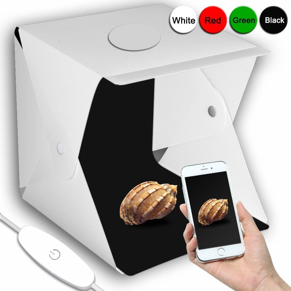 Portable 40*40 cm/16 pouces pliant LED Lightbox photographie Studio Softbox luminosité réglable boîte à lumière pour appareil Photo reflex numérique