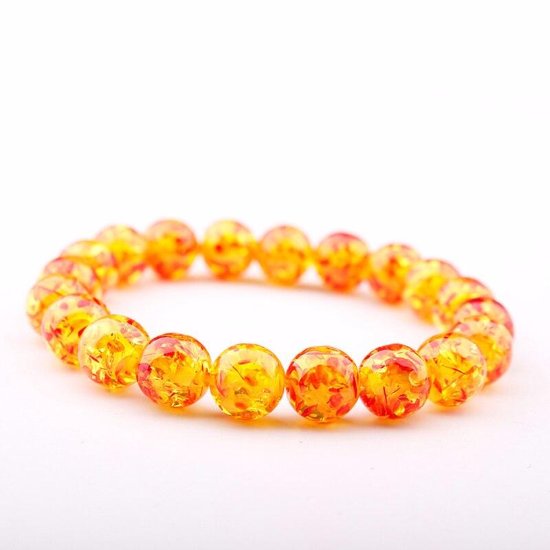 GVUSMIL New Arrival moda kobiety biżuteria męska zroszony elastyczne bransoletki Unisex żółty wosk pszczeli imitacja Ambers bransoletki z kamienia