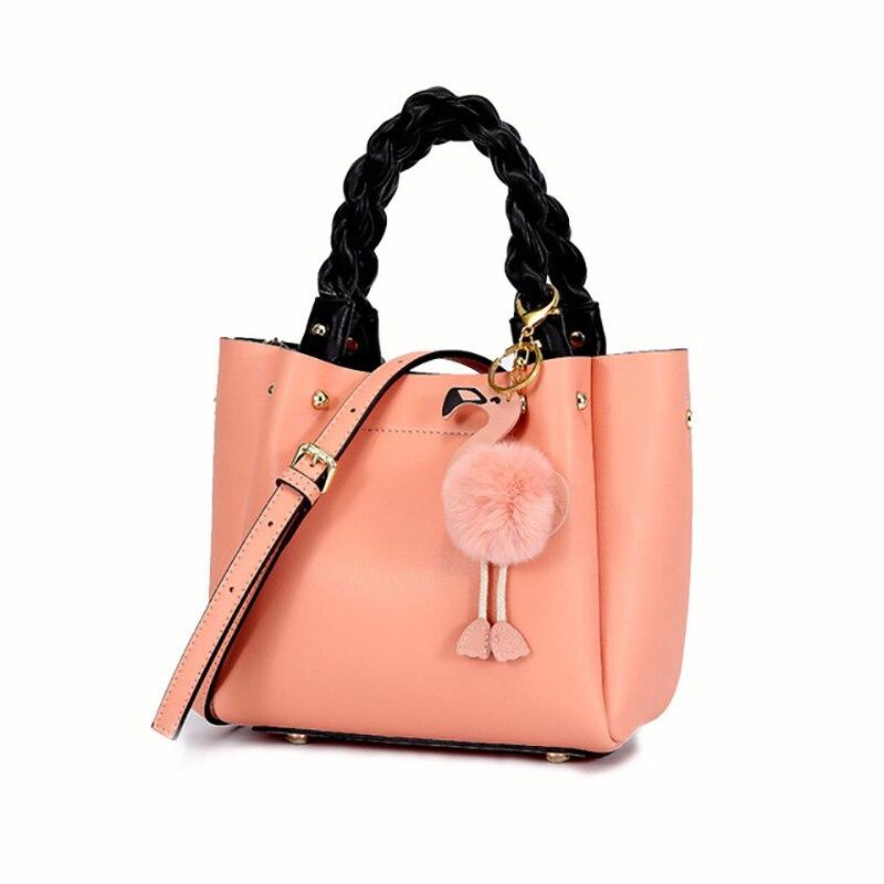Véritable Seau En Cuir Sac Femmes Sacs À Main Célèbre Marque Épaule Bandoulière Sacs Tissage Poignée Messenger sac Flamingo Accessoire