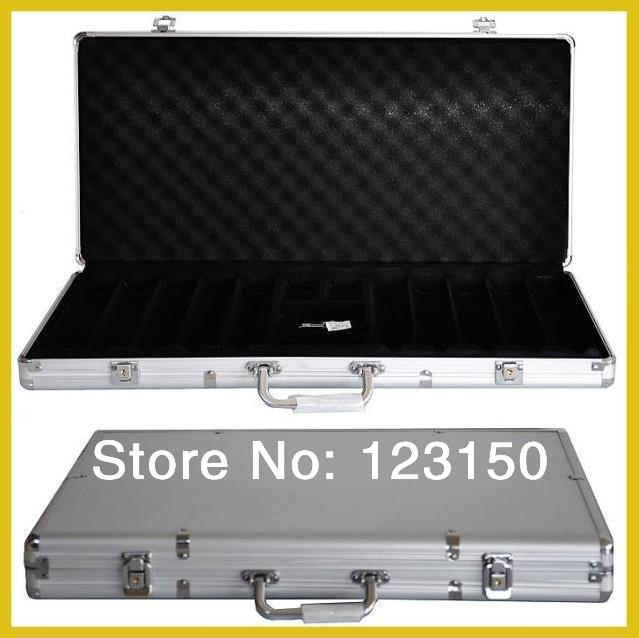 AC-007  High Quality Poker Chip Aluminum Case for holding 500pcs chips, Silver