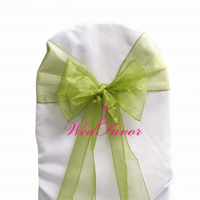 WedFavor 100pcs Willow Green Sage Green Wedding Organza Chair Sashes Party  Hotel Decoration Chair Bow Ties
