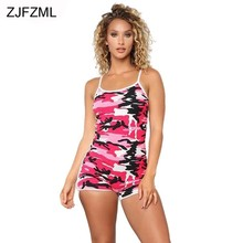 2accd1c8295 ZJFZML Camouflage Printed Sexy Sling Rompers 2018 New Women Sleeveless  Backless Short Playsuit Casual Bandage One