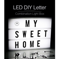 Creative Night Light DIY Puzzle Alphabet Light Box Letter LED Light Box A4 Size USB Charge Wedding Party Room Decoration