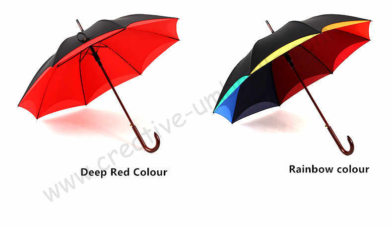 2 pcs/lot pilihan warna daun Teratai pelangi payung kayu 210 T pongee lapisan ganda panjang menangani memutar rose bunga bentuk parasol