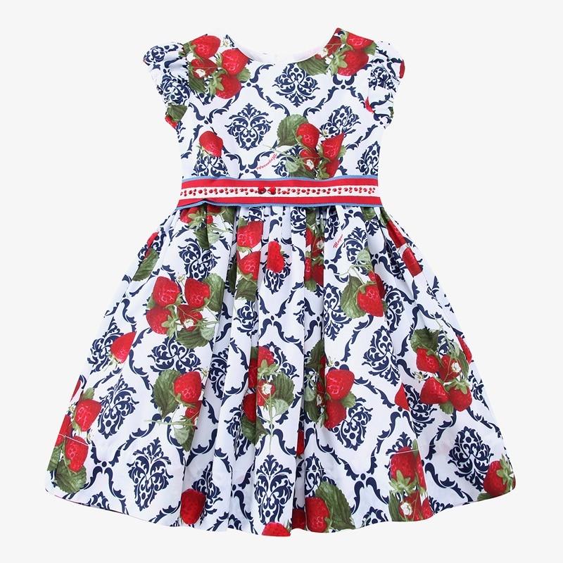 Kidsalon Princess Girl Dress 2017 Designer Girls Dresses Strawberries Floral Printed Robe Enfant Kids Dresses for Girls Clothes
