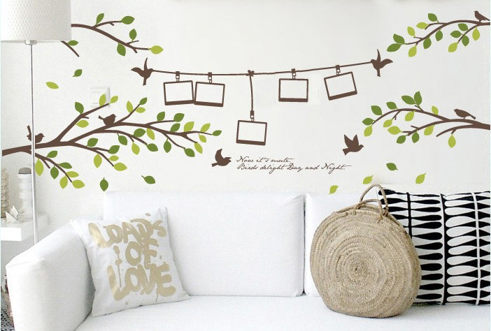 Aliexpress Com Buy Photo Frame Tree Branch Birds Only Tree Removable Wall Sticker Mural Decal Diy Home Decor Decoration Wallpaper Poster Bedroom From