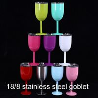 2018 New 9 Style 300ml Cocktail Refrigeration 18 8 Stainless Steel Goblet Vacuum Red Wine Water