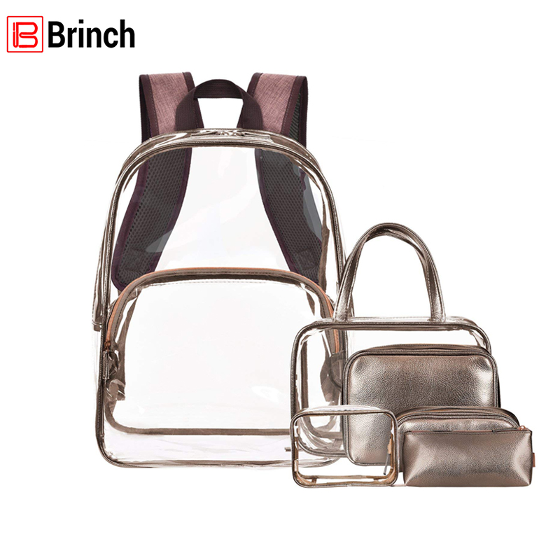 BRINCH Fashion Hologram Large Capacity Laser Transparent Backpack Waterproof PVC Clear Daily Women Backpack For Teenage Girls