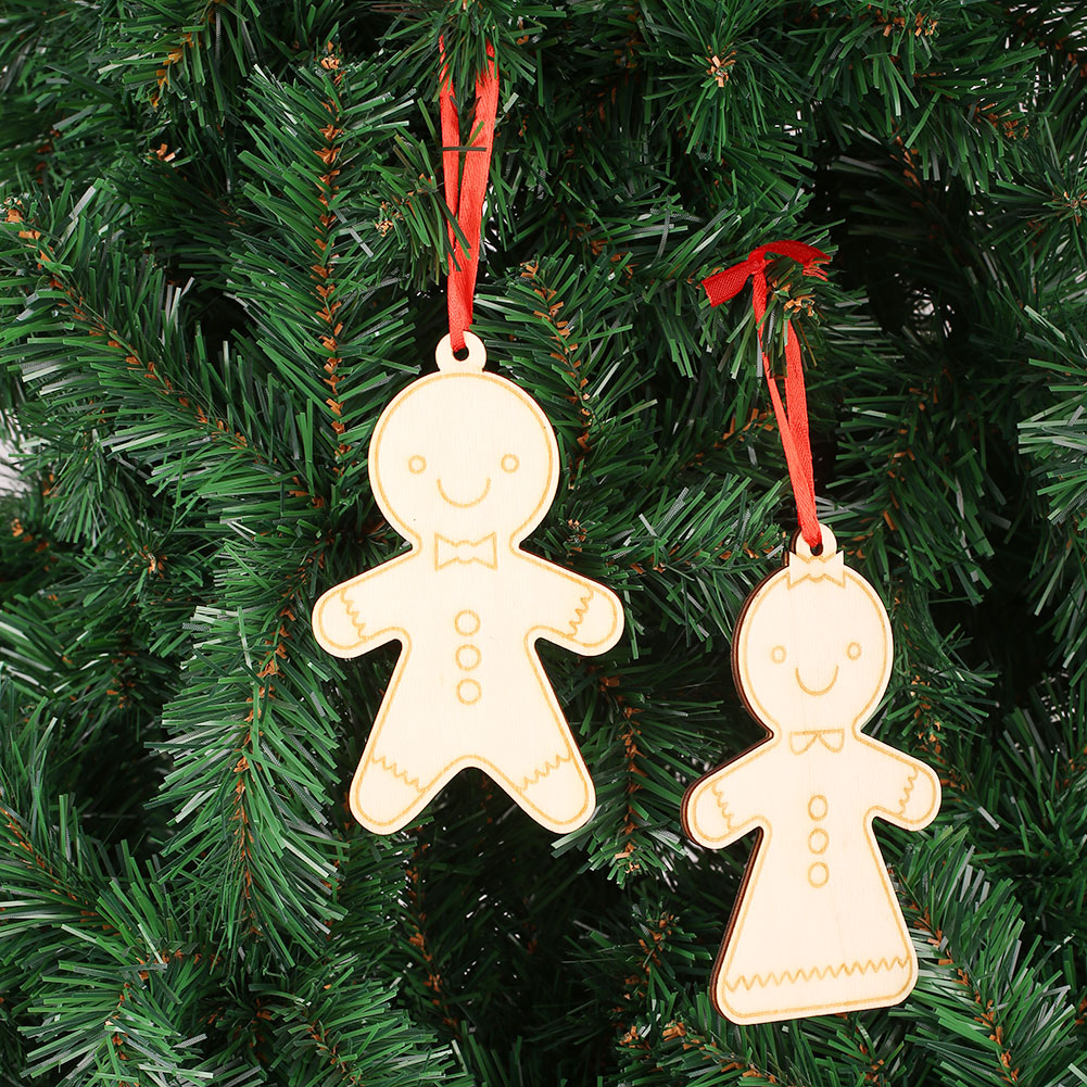 2pcs Christmas Hanging Ornaments Gingerbread Man Wooden Party  Decoration(china)