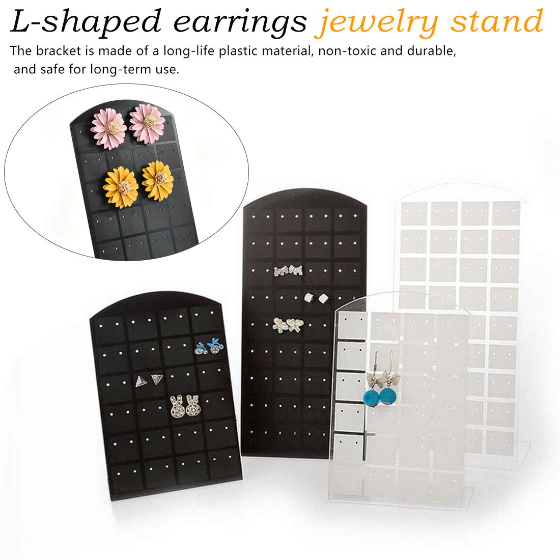 36 Pairs Of 24 Pairs Of 12 Pairs Of Jewelry Black And White Display Stand L-shaped Earrings Jewelry Frame